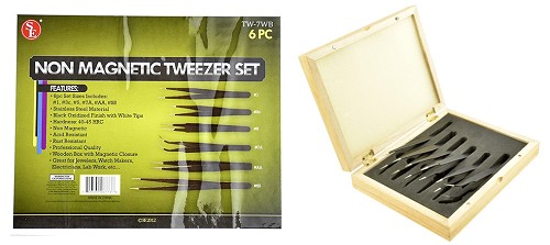 6-Pc. Non-Magnetic Black Oxidized Tweezers Set in Wooden Box