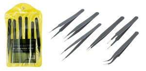 6pc Black Coated Non-Magnetic Tweezer Set : #10, 11, 12, 13, 14, 15 : 201 Stainless Steel