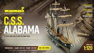 "Mamoli MV53  CSS Alabama - Plank on Bulkhead Ship Model Kit - Scale 1/120 - Length 28"", Height 14"""