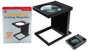 Sona lluminated Folding Glass Lens 2X Magnifier with Built-In Ruler
