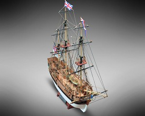"Mamoli MV52 - HMS Bounty - Wood Plank-On-Bulkhead Ship Model Kit - Scale 1/100 - Length 448 mm (18"")"