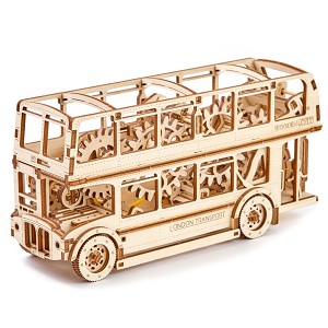 Wooden.City London Bus Motion Model Kit & 3D Puzzle - Laser Cut Wood - 216 Parts