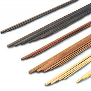 "Model Shipways Walnut Wood Strips 1/32x1/8x20"" (0.6x3x500mm) 12 Pack"