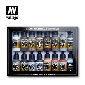 Vallejo Model Air Weathering Colors 16 Bottles