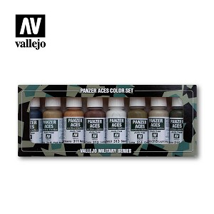 Vallejo Panzer Aces Set No.2 Wood, Leather, Stencil 8 Bottles